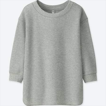 ユニクロのワッフルクルーネックT(7分袖)のグレー