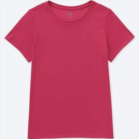 ユニクロのドライEXクルーネックT(半袖)のピンク