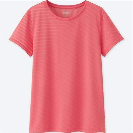 ユニクロのSPRZ NYドライEXクルーネックT(フランソワ・モルレ・半袖)のピンク