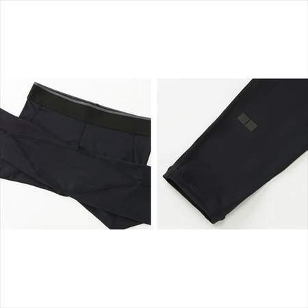 ユニクロのエアリズムパフォーマンスサポートタイツの股下部分と裾部分のアップ