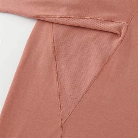 ユニクロのエアリズムクルーネックT(長袖)の脇下部分のメッシュ加工のアップ
