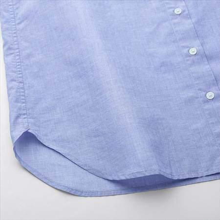 ユニクロのソフトコットンシャツ(長袖)の裾部分のアップ