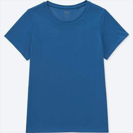 ユニクロのドライEXクルーネックT(半袖)のブルー