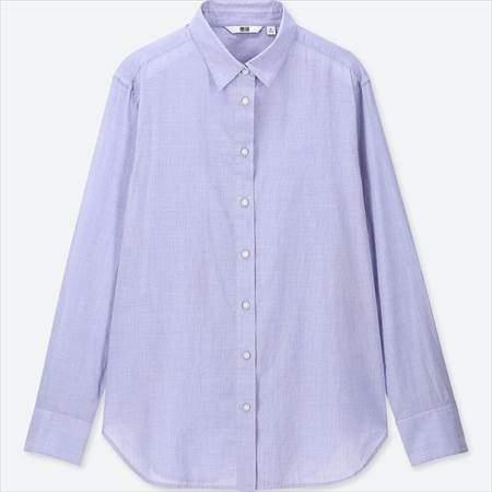 ユニクロのソフトコットンシャツ(長袖)のブルー