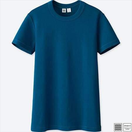 ユニクロのクルーネックT(半袖)のブルー