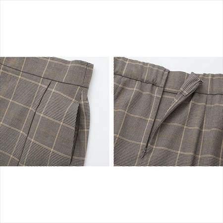 ユニクロのチェックナロースカート(ハイウエスト・丈標準71~74cm)のポケットと背面ファスナー部分