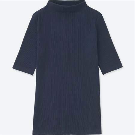 ユニクロのレディースのリブハイネックT(5分袖)のネイビー