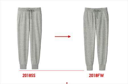 ユニクロのレディースのスウェットパンツ(丈標準68~68.5cm)の裾のリブが長くなった比較写真