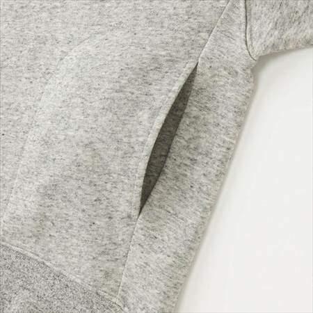 ユニクロのレディースのスウェットプルパーカ(長袖)のサイドポケット部分