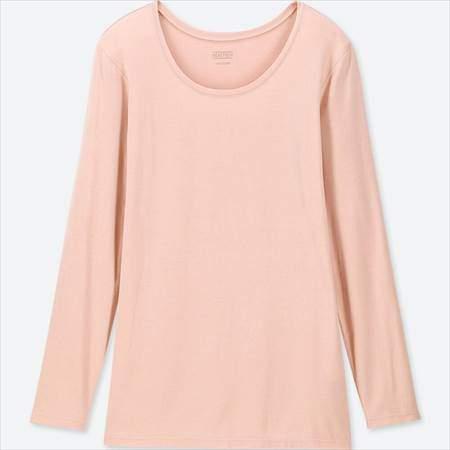 ユニクロのヒートテッククルーネックT(長袖)のピンク