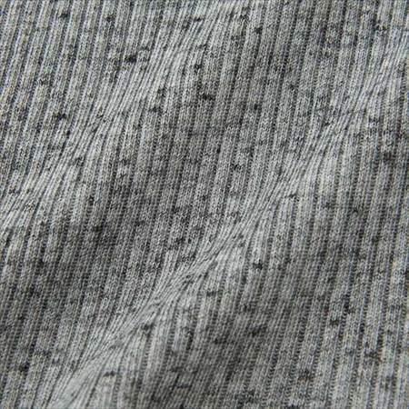 ユニクロのリブハイネックT(長袖)の生地のアップ写真