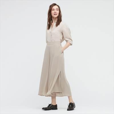 ユニクロのシフォンスリットスカートパンツ